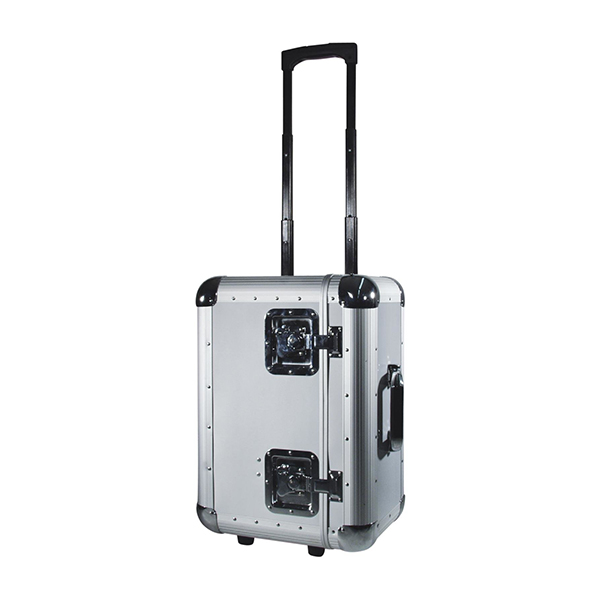 Record case ALU 75/25 or 100 LP'S, silver, w. trolley – ROADINGER 30110065 Record case ALU 75/25 or 100 LP'S, silver, w. trolley – ROADINGER 30110065